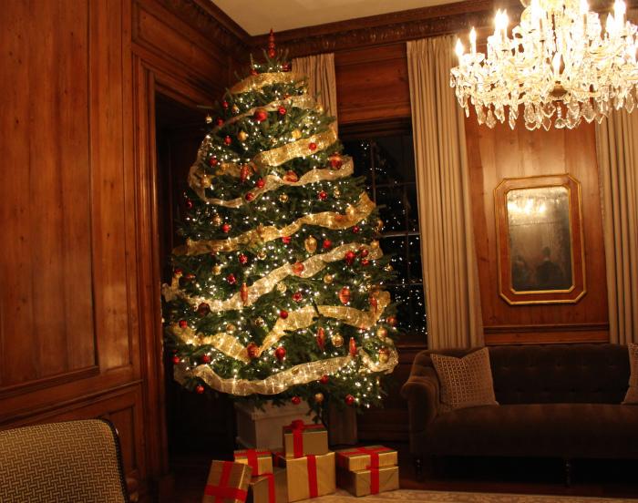 室内はクリスマスムードでいっぱい