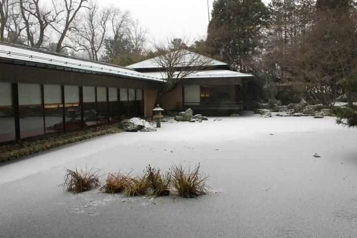 大使公邸の池もすっかり雪で覆われています
