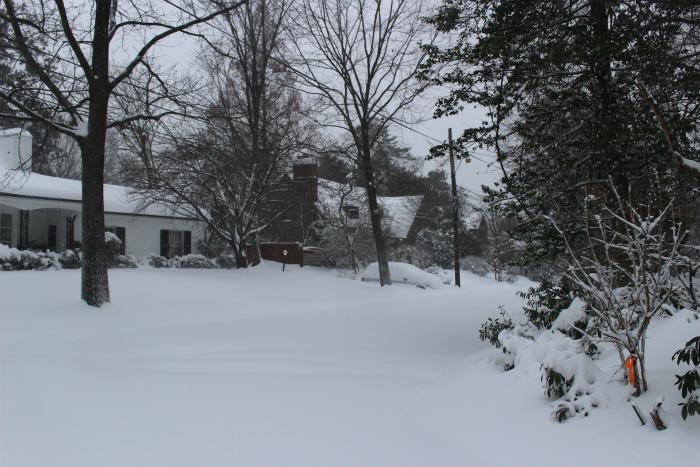 家も車も雪に埋まってます