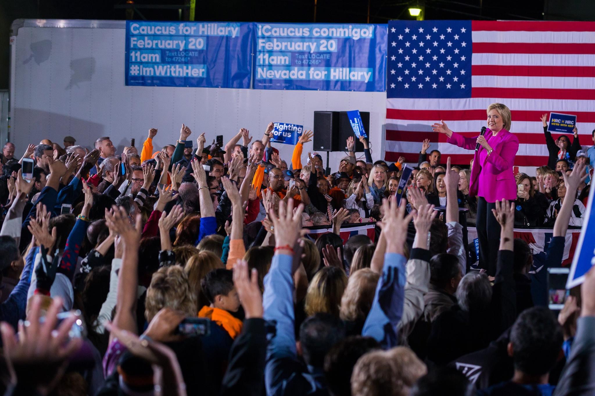 ネバダ州党員集会のクリントン氏 Facebook